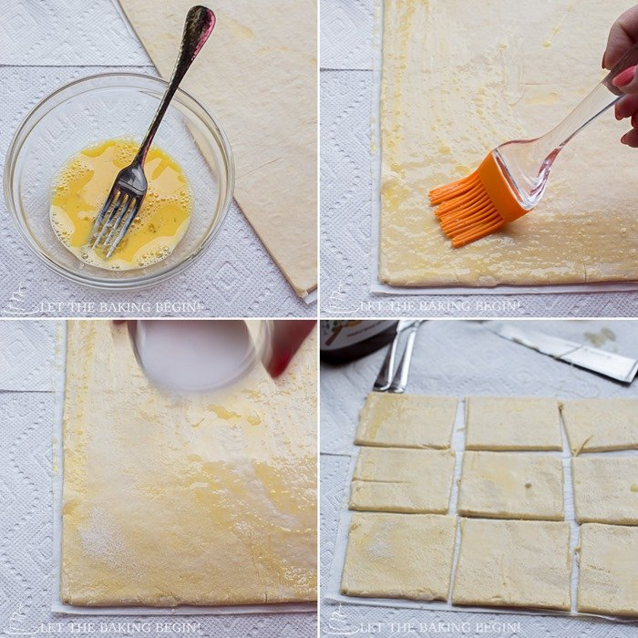 Step by step tutorial on how to make this Nutella puff pastry danish recipe.