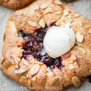 Cherry Galette with Homemade Whipped Cream and Sliced Almonds - LetTheBakingBeginBlog.com - @Letthebakingbgn-20
