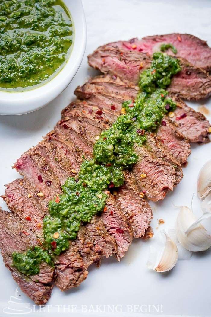 Grill Pan Flat Iron Steak with Chimichurri Sauce Recipe Let the Baking ...
