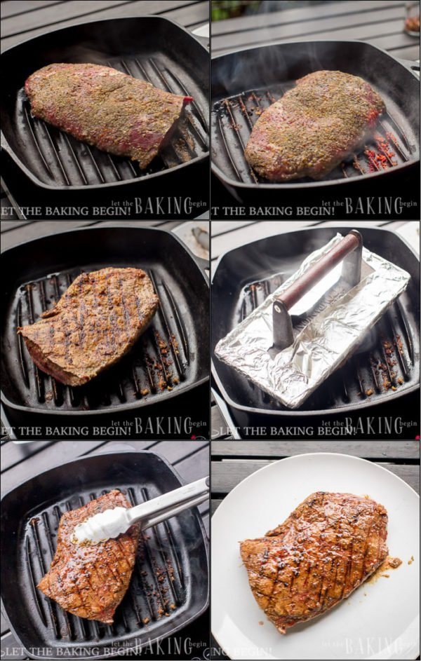 How to cook steak on a grill and press down with something heavy.