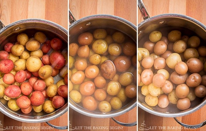 Boiling the potatoes in a pan with water.
