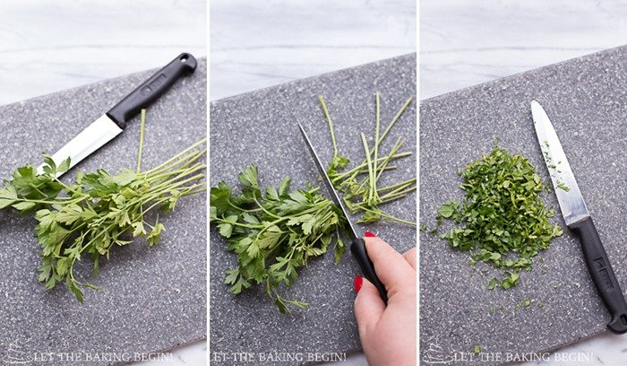 Picture of how to chop the herbs.