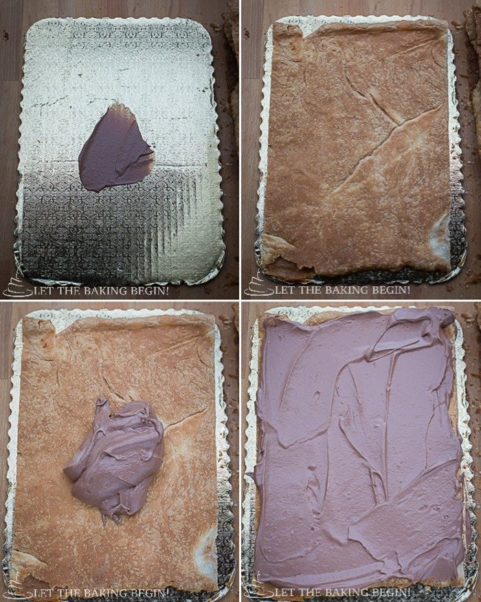 How to assemble cake by adding puff pastry layers and spreading nutella cream on each layer.