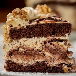 Chocolate Kiev Cake - Chocolate Sponge Cake with Chocolate Meringue sprinkled with Walnuts and Dulce de Leche Buttercream. - By Let theBakingBeginBlog.com - @Letthebakingbgn