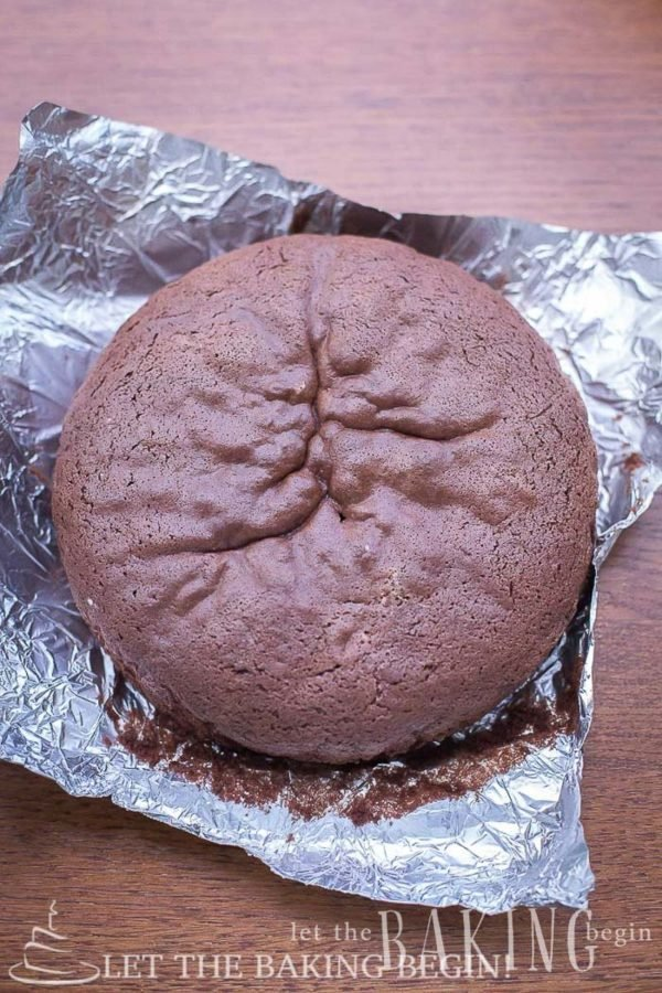 Soft and airy chocolate sponge cake recipe on foil.