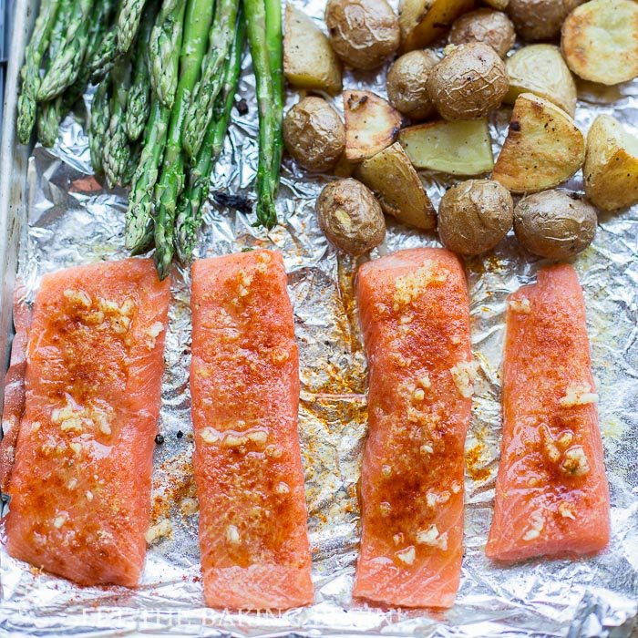 Potato salmon and asparagus one pan dinner clean easy for Something delicious to eat for dinner