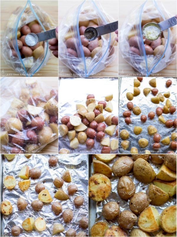 How to season and roast the potatoes for this healthy one pan meal!