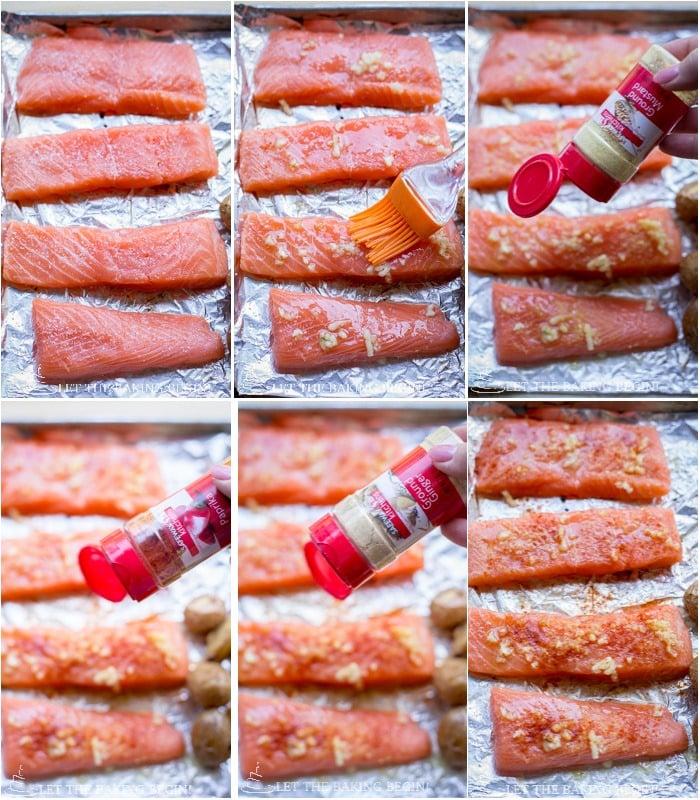 Seasoning and baking the salmon for this Potato Salmon Asparagus one pan dinner.