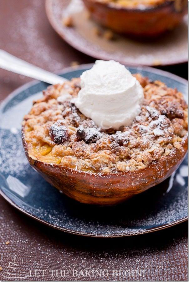Acorn Squash with Apple Cranberry Stuffing & Walnut-Oat Crumble by LetTheBakingBeginBlog.com @Letthebakingbgn-12