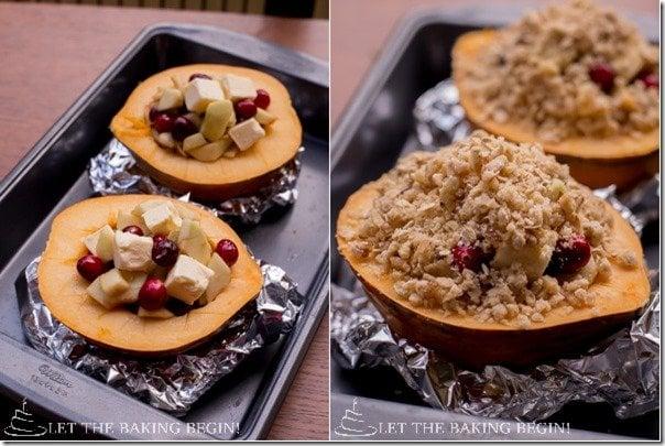 Acorn Squash with Apple Cranberry Stuffing & Walnut-Oat Crumble by LetTheBakingBeginBlog.com @Letthebakingbgn