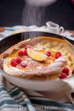 Shake and Bake Dutch Baby Pancakes - Put Eggs, Sugar, Milk and Flour in a jar and shake, then bake in the oven for 15 minutes. Can breakfast get any easier?   by LetTheBakingBeginBlog.com   @Letthebakingbg