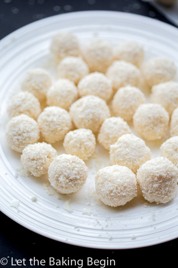 White Chocolate Coconut Candy (Raffaello Copycat) - 4 ingredient cousin of the famous candy these are easy and quick to make, oh and very delicious! | @Letthebakingbgn
