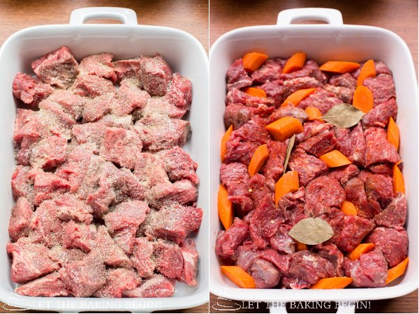 Step by step recipe for Beef with Caramelized Onions and Mushrooms.