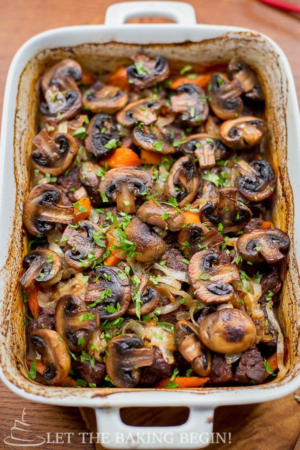 Beef with Caramelized Onion and Mushrooms with a hint of wine, and greens.