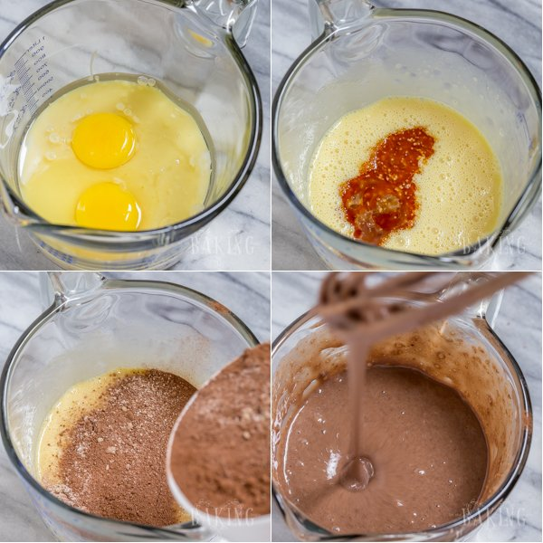 How to make the chocolate cake batter with eggs and sugar.
