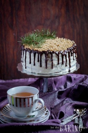 Chocolate Walnut Cake with Sour Cream Frosting | By Let the Baking Begin!
