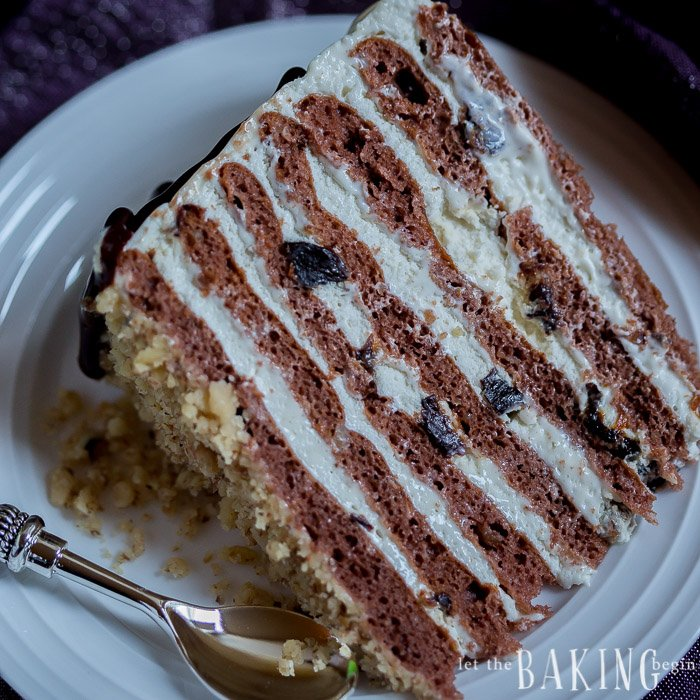 Chocolate Cake with Plums, Walnuts and Sour Cream Frosting - Let the ...