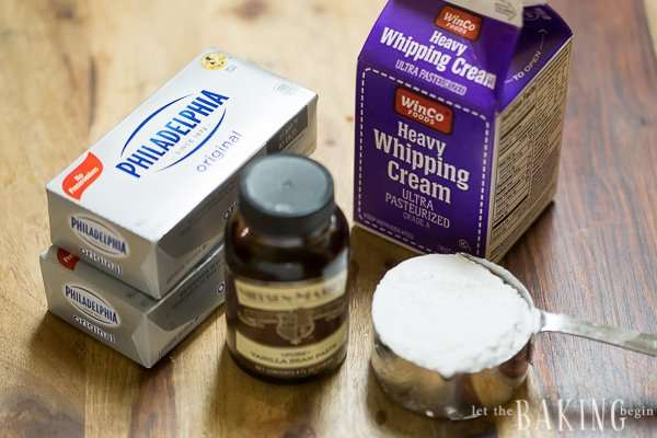 Ingredients needed for the vanilla cream cheese frosting.
