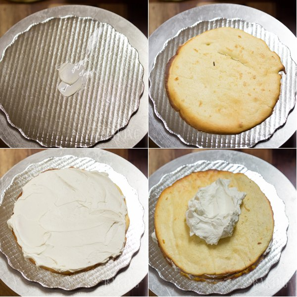 Step by step instructions showing how to assemble a layered tres leches cake.