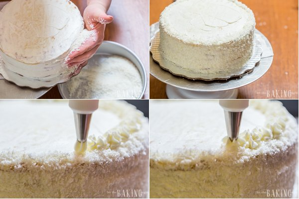 Woman decorating the side and top of a tres leches cake with shredded coconut and icing.