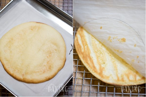 Tres leches cake on a parchment paper, and peeling off the parchment paper to cool.