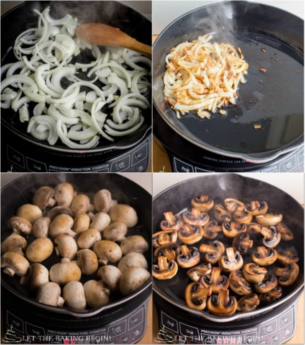 Step by step instructions on how to saute mushrooms and onions for this beef recipe.
