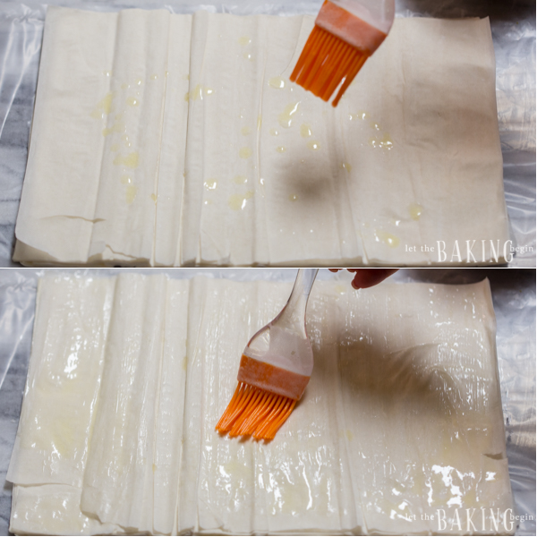 How to unroll fillo dough sheets and better and use a pastry brush to butter thoroughly.