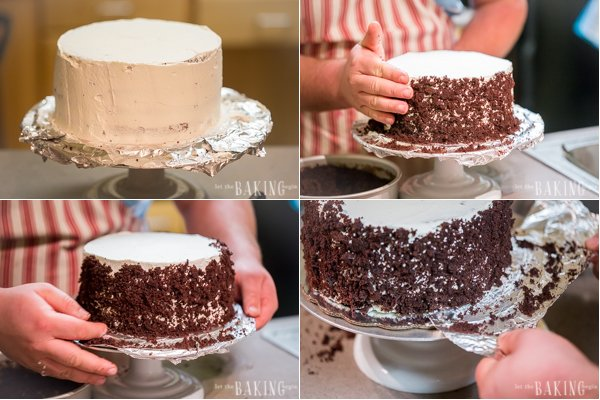 Th cake covered in remaining frosting. A palm ofa hand is filled with crumbs and pressed against the sides of the cake all around. The foil strips are pull out under the cake revealing clean edges of the cake platter.