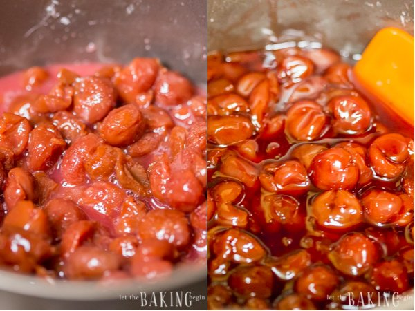 Cherries, sugar, cherry juice and starch cooking in a pot to become cherry filling.