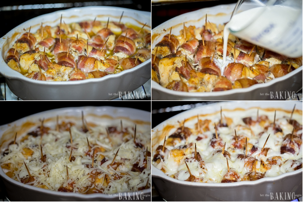 Cheesy Bacon Wrapped Chicken - pieces of chicken breast are wrapped in smoked bacon, then baked until soft and tender. Later cream and mozzarella are added for extra richness and creaminess. Served with Mashed Potatoes it's the ultimate comfort food!