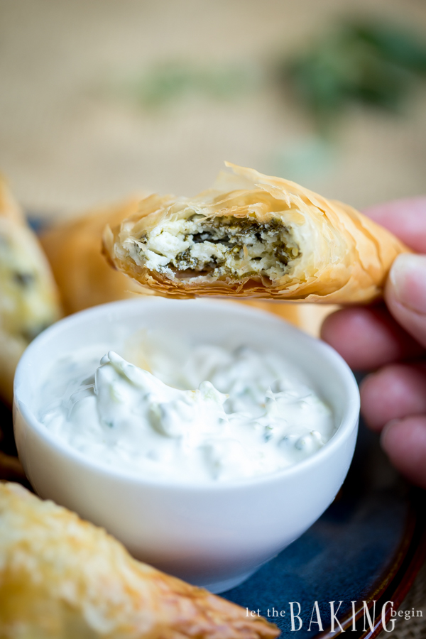 Spinach and Feta Triangles - Spanokopita   Let the Baking Begin!_