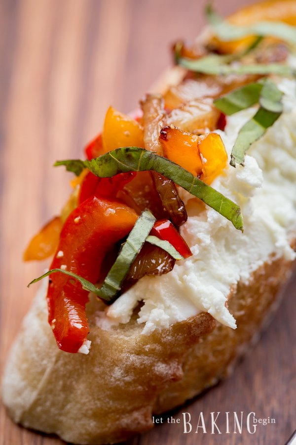 Caramelized Onion, Bell Pepper and Goat Cheese Crostini | Let the Baking Begin