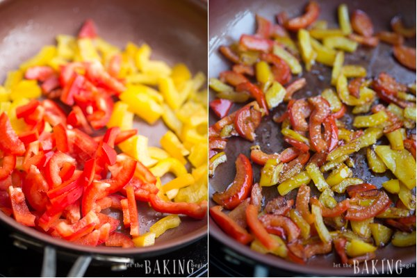 How to caramelize bell peppers in a skillet.