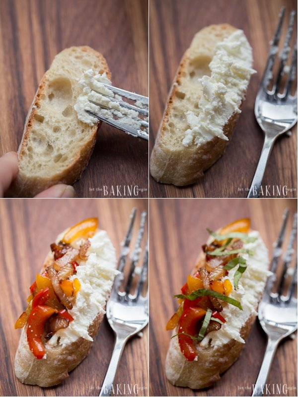 How to add goat cheese to one side of the baguette with a fork and then onions and peppers on the other side.