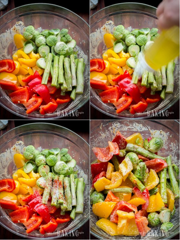 How to mix together all vegetables, add seasoning, and mix together.