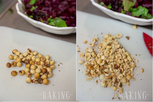 Beet and Feta Salad - refreshing but hearty salad of roasted beets, baby greens, creamy crumbled feta, roasted hazelnuts and a nice vinaigrette   by Let the Baking Begin!