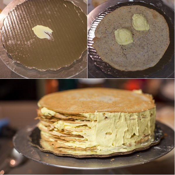 How to assemble the Esterhazy cake on a cake platter.