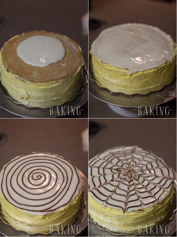Decorating the Esterhazy cake with lemon glaze and chocolate drizzle.