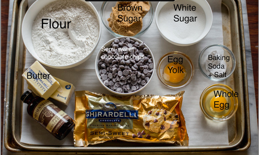 All the ingredients needed for chewy chocolate chip cookies.