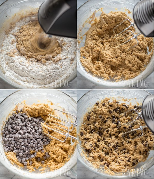 Combing the dry ingredients with the wet cookie dough batter mixture for chewy chocolate chip cookies