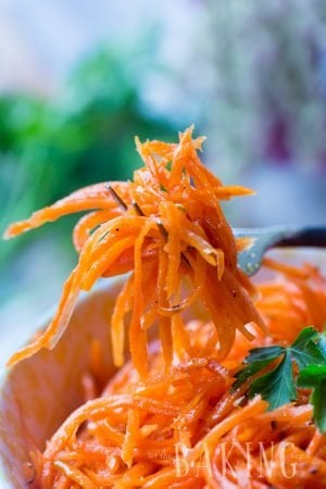 Spicy Korean Carrots - A must-have recipe for grilling season. A mix of garlic, coriander, hot oil and other spices transform the carrots into something unbelievable!   Let the Baking Begin!