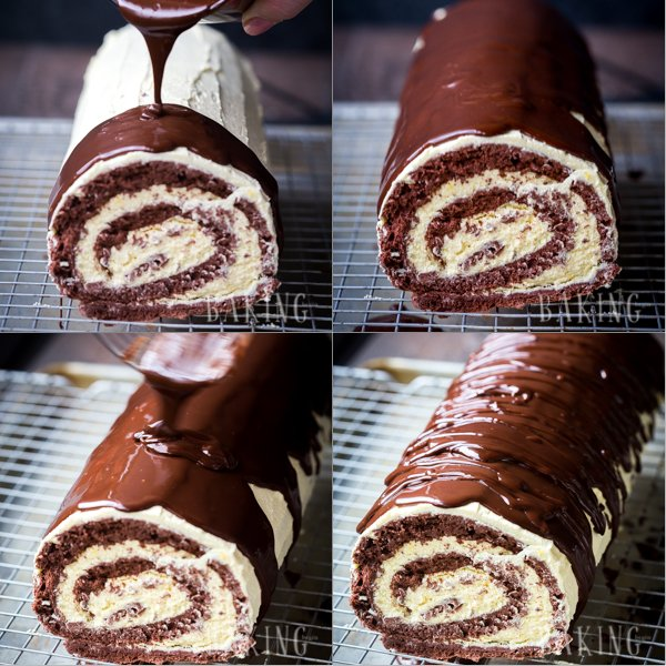 Topping the chocolate custard roll with homemade chocolate ganache.