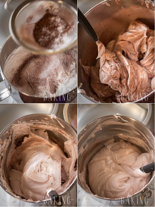 Adding the dry ingredients into the chocolate cake batter.