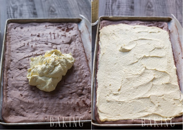Covering the baked chocolate cake with rich custard buttercream.