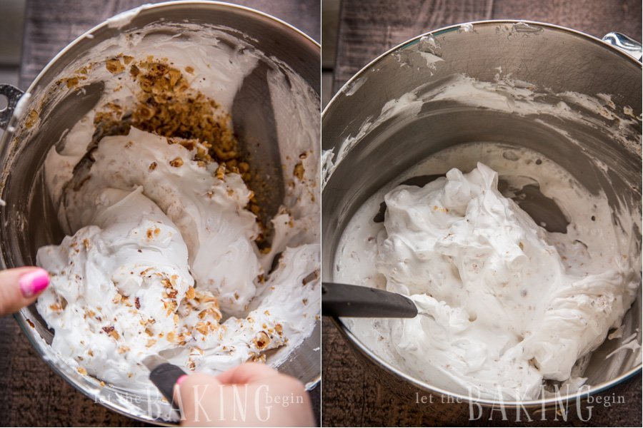How to fold in hazelnuts into the meringue with minimal amount of strokes.