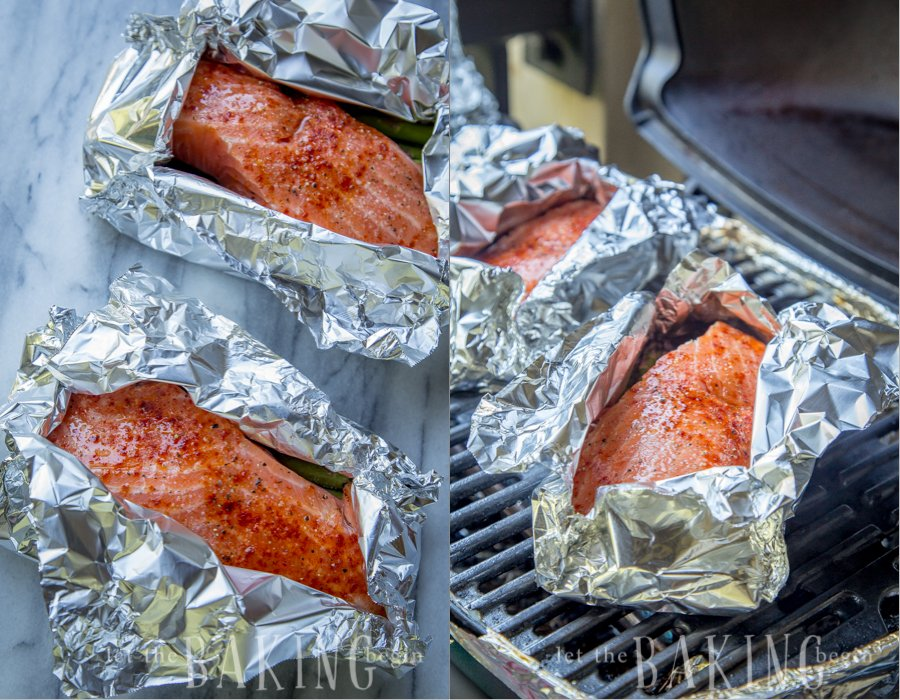 Wrapping the asparagus and baked salmon in foil and cooking it on a grill.