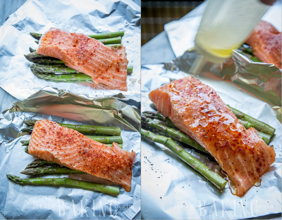 Preparing the ingredients for this baked salmon in foil recipe.