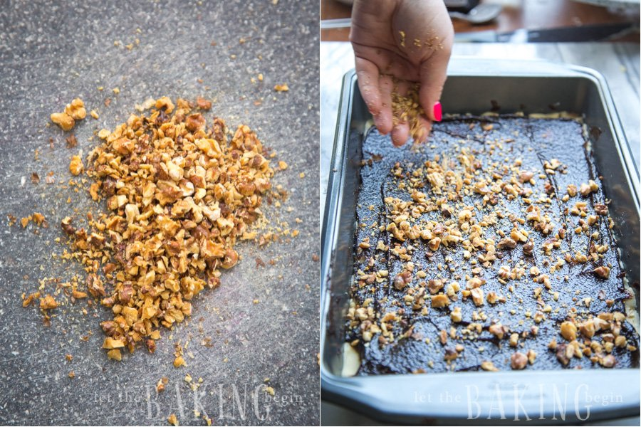 How to spread roasted, chopped walnuts on top of plum butter.