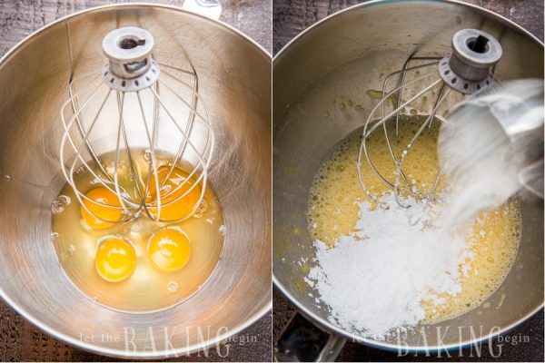 How to mix together sugar and powdered sugar in a stand up Kitchen aid mixer.