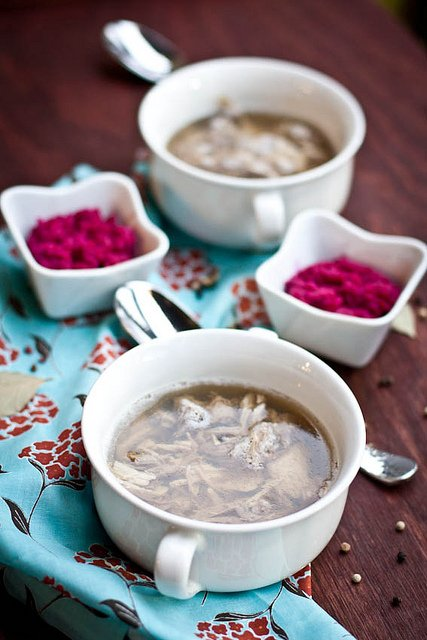 Kholodets (Meat Aspic) is made with flavorful gelatinized broth and tender shredded meat. Served with horseradish and beet sauce it's a true Ukrainian treat